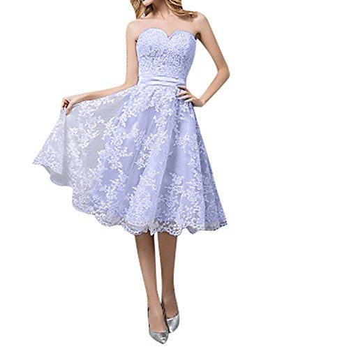 Spitze Elfenbein 2018 Knie A Lilac Brautkleider Ballkleider Neu Hochzeitskleider Linie Damen Abendkleider Kurz Charmant Lang twTq5II