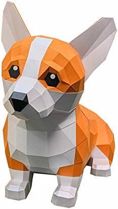 DIY紙コップ3D折り紙動物装飾品DIY手作り子犬彫刻3D三次元ペーパークラフト猫彫刻動物建築