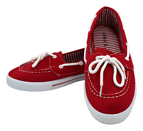 Enimay Women's Original Style Slip-On Casual Canvas Boat Shoe Loafer Flats Red 10