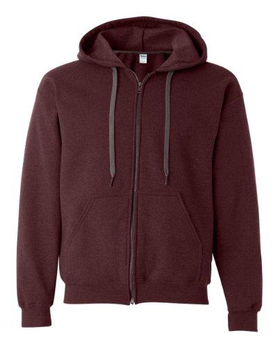 Gildan Heavy Blend Mens Vintage Full Zip Hooded Sweat / Hoodie (L) (Russet)