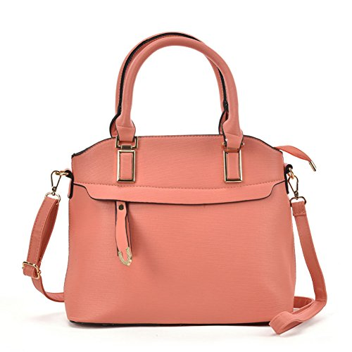 SALLY YOUNG Fashion Women Metal Detail Tote Bag With Detachable Strap Pink