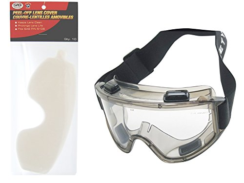 SAS Safety 5106-KIT Deluxe Painter Overspray Goggles w/ Peel-Off Lens Covers