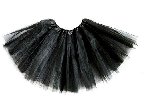 Girls Classic Elastic 3, 4, 5 Layered Tutu Ballet Soft Tulle Costume Skirt (9-13 Years, Classic-Black) -