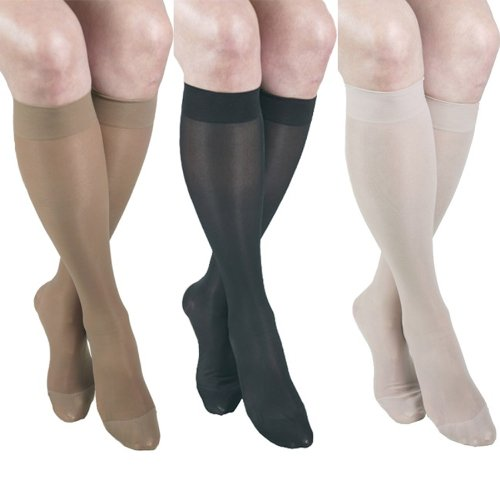 ITA-MED Sheer Knee Highs, Compression (23-30 mmHg) Mixed Colors, Medium, 3 Count