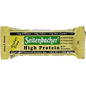 Seitenbacher Chocolate Covered Protein Bar, Vanilla, 2.1 Ounce (Pack of 12)