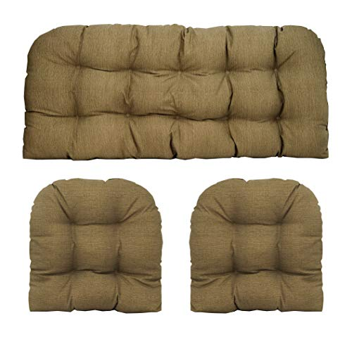 - RSH Décor Indoor/Outdoor Wicker Cushions Two U-Shape and Loveseat 3 Piece Set (Faux Burlap)