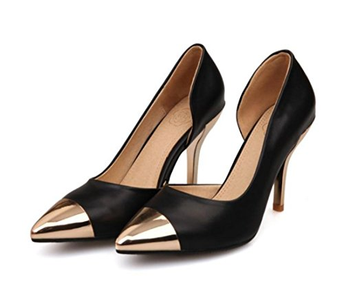 YCMDM Scarpe a punta High-Heeled DONNA sceglie i pattini d'oro , black , 34