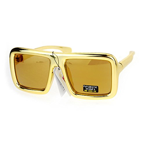 SA106 Metalic Robot Disco Funky Retro Rectangular Racer Party Shade Sunglasses - Glasses Mens Funky