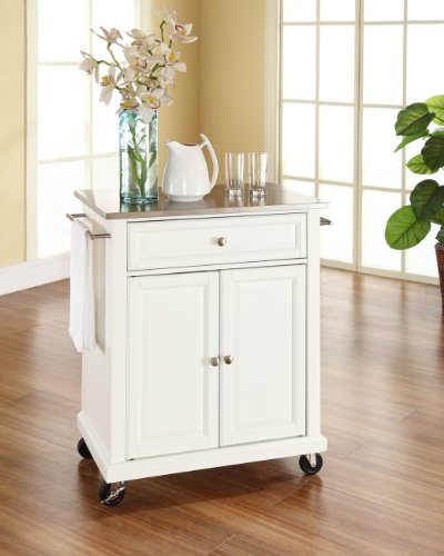 Crosley Furniture Compact Kitchen Island with Stainless Steel Top, White