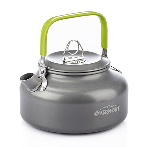 Overmont Aluminum 0.8L Outdoor Camping Hiking Kettle Coffee Pot Portable Teapot Kettle, Compact and Lightweight with Silicon Handle