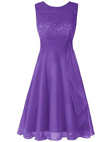 Wedtrend Women's Short Chiffon Bridesmaid Dress Lace Dress WT12088Grape 4