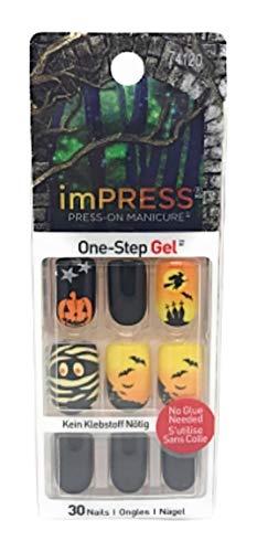 Kiss imPress Press-On Manicure Gel Medium Length Halloween Nails 74120 Elm
