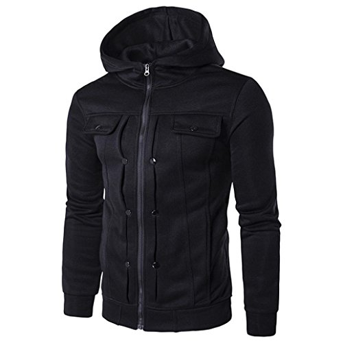 Price comparison product image Kinghard Men Winter Slim Hoodie Warm Pullover Sweatshirt Hooded Coat Outwear (M,  Black 1)