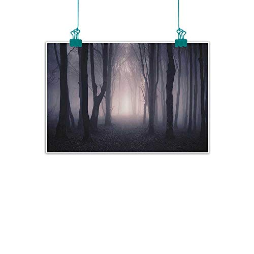 funkky Farm House Decor Modern Frameless Painting Path Through Dark Deep in Forest with Fog Halloween Creepy Twisted Branches Picture Bedroom Bedside Painting 47