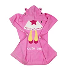 Angel Design Hoodie Towel for Baby / Kid Girls Super Soft and Highly Absorbent Organic Cotton Pink Hooded Bathrobe with White Angelet Wings