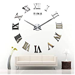 CdyBox Modern Style Large Roman Numbers 3D Wall Clock Kit for Office Home Living Room Bedroom Decor (Silver)