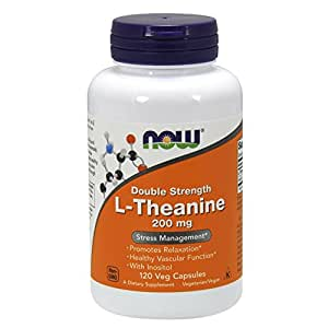 NOW L-Theanine 200 mg,120 Veg Capsules