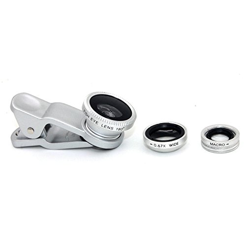 3 in 1 Macro/Fish-eye/Wide Universal Clip Lens (Silver) - 1