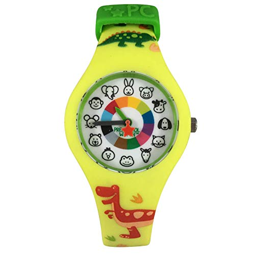 Dinosaur Preschool Watch - The Only Analog Kids Watch Preschoolers Understand! Quality Teaching time Silicone Watch with Glow-in-The-Dark Dial & Japan Movement ()