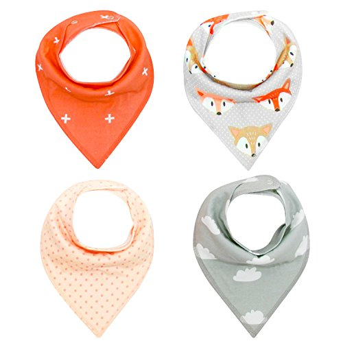 Bassion 4 Pack Baby Bibs Baby Bandana Bib Baby Drool Bibs, Super Absorbent Unisex Drool Bibs Set for Drooling and Teething, 100% Organic Cotton For Baby Shower Gift, Multi Options Available