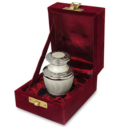 Everlasting Love White Small Keepsake Urn for Human Ashes - Qnty 1 - Beautiful and Timeless Find Comfort Everytime You Look at This High Quality Cremation Urn - Incudes Velvet (Brass Keepsake Cremation Urn)