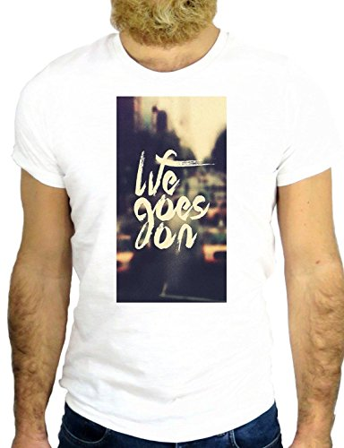 T SHIRT JODE Z2438 LIFE GOES ON FUN ROMANCE US LOVE AMERICA VINTAGE US GGG24 BIANCA - WHITE L
