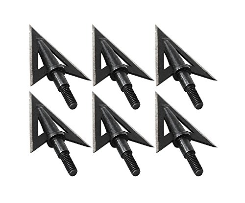 IRQ 6 Pack Archery Arrowheads for Hunting Metal Broadheads Tips100 Grain Screw in Replacement Field Points Stainless Steel