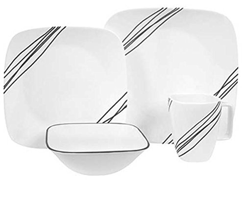 Corelle Square 16-Piece Dinnerware Set, Simple Sketch, Service for (Square Simple Lines 16 Piece)