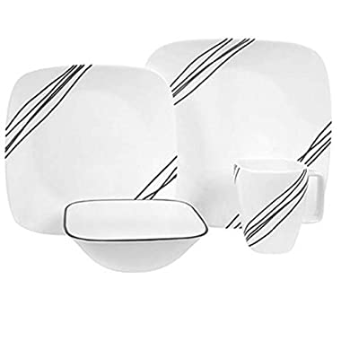 Corelle Square 16-Piece Dinnerware Set, Simple Sketch, Service for 4