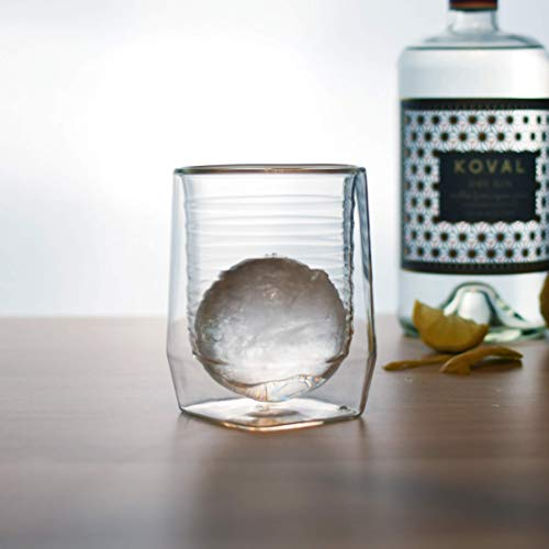 Aged & Ore - The Duo Glass | Hand Blown Double Walled Whiskey Glass Gift Set with Free Silicone Ice Molds | Integrated Measuring Lines for the Perfect Cocktail | Durable Modern Tumbler | Set of 4 by Aged & Ore (Image #7)