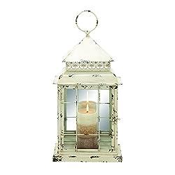 Benzara Metal Glass Lantern with Antique Styled Design