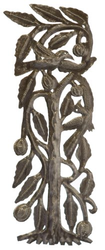 Le Primitif Galleries Haitian Recycled Steel Oil Drum Outdoor Decor, 6 by 16-Inch, Two Birds in Tree