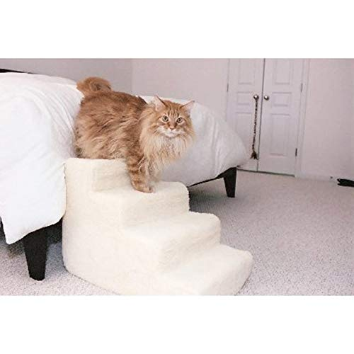 Pet Stairs Petstairz 4 Step High Density Foam Pet Step and Pet Stair with Beige Removable and Washable High Curly Pile Shearling Cover for Pets up to 50 - Foam 4 Step