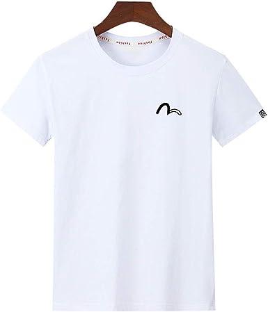 Camiseta de Manga Corta de algodón de Primavera y Verano para Hombres Camiseta Informal Suelta de Gran tamaño con Estampado de Media Manga: Amazon.es: Ropa y accesorios