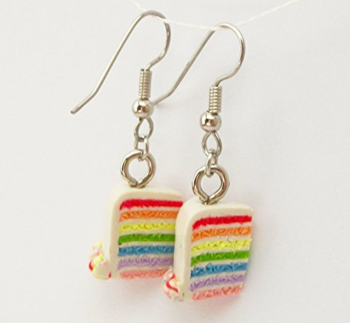 Rainbow Birthday Cake Slice with White Icing Earrings