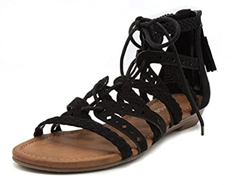 Rampage Women's Shelia Gladiator Braided Flat Lace Up Sandal with Tassel 7.5 Black - Iona Flat Shoe