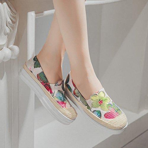 Latasa Femmes Mode Fleur Impression Corde Tissé Confort Slip Sur Plate-forme Mocassins Chaussures Multicolor A