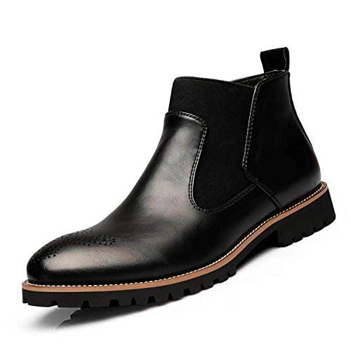 (RAINSTAR Men's Casual Chelsea Ankle Boots Slip On Loafer Bootie Autumn Winter Black 10)