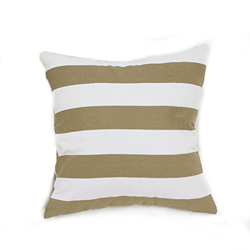 TAOSON Home Decorative Cotton Canvas Square Toss Pillowcase Cushion Cover Stripe Throw Pillow Case with Hidden Zipper Closure Only Cover No Insert - Khaki 18