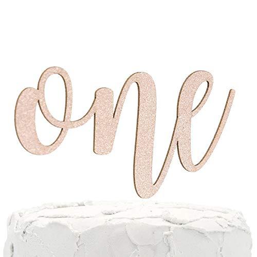 NANASUKO 1st Birthday Cake Topper - one - Double Sided Rose Gold Glitter - Premium Quality Made in USA