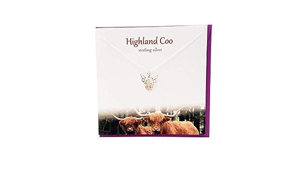 Estudio De Plata Escocia Scottish Highland Vaca Coo Aretes Tarjeta Conjunto de Regalo