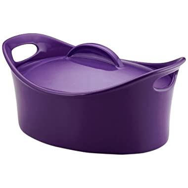 Rachael Ray Stoneware 4.25-Quart Covered Bubble and Brown Casseroval Casserole, Purple