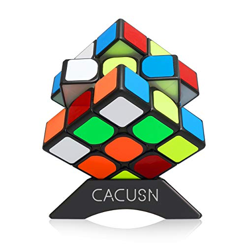 CACUSN Speed Cube Magnetic 3x3 | New Anti-Pop Structure and Tension Adjustable | Magic Cube 3x3 Puzzle Cube | Stickers Edition with Cube Stand