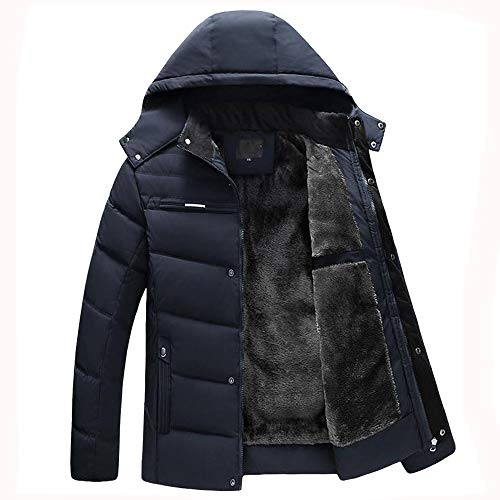 Allywit Men's Hooded Faux Fur Lined Quilted Winter Coats Jacket Warm Outwear Oversize by Allywit (Image #1)