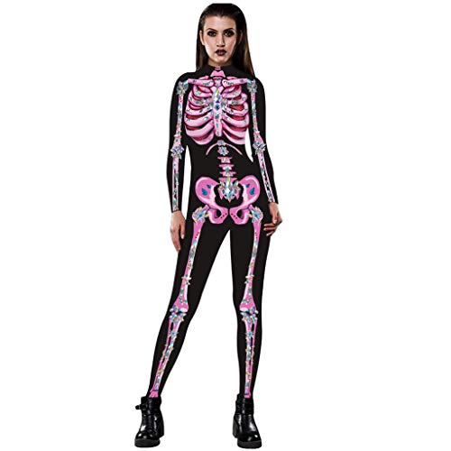 KLFGJ Women Jumpsuit for Halloween Party Sexy Bone Muscle Print Long Sleeve Slim Costumes Pink]()