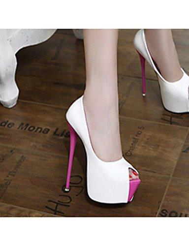 Stiletto White us8 Eu39 negro Mujer Zq tacones Blanco Black casual Uk6 tac¨®n us8 5 pu Cn40 De Zapatos 5 5 tacones qwPfIw1