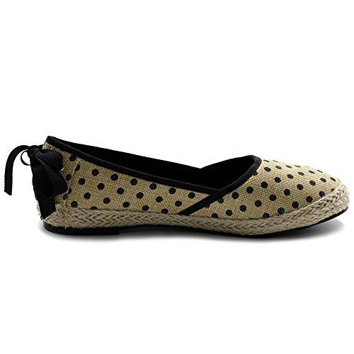 Shoe Dot Espadrille Flat Ollio Women's Ballet Pattern Black Polka 5Rxxw1qI