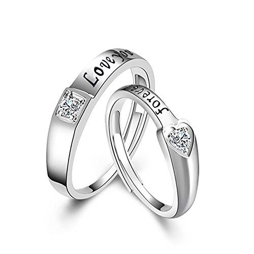 Tidoo Jewelry His Hers Sterling Silver Women's Wedding Engagement Heart Rings & Men's Matching Band (Silver Matching Rings)