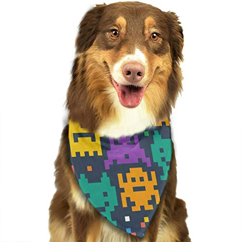 TNIJWMG Pixelated Monster Bandana Triangle Bibs Scarfs Accessories for Pet Cats and Puppies -