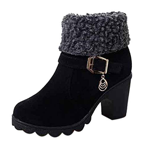 Limsea Women's Snow Boots, Fashion Flock Fold-Down Warm Winter Platform Short Shoes 7.5 Black -